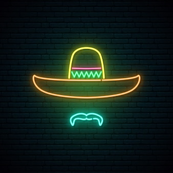 Sombrero and mustache glowing neon sign.