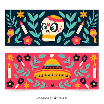 Sombrero and skull banners for dia de muertos event