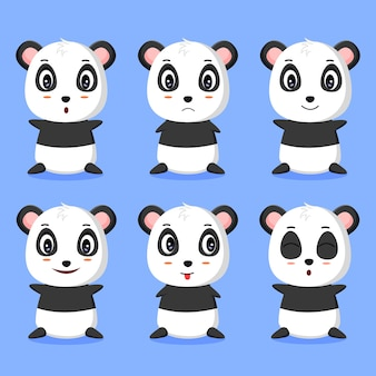 Some cute panda expression vector illustrations