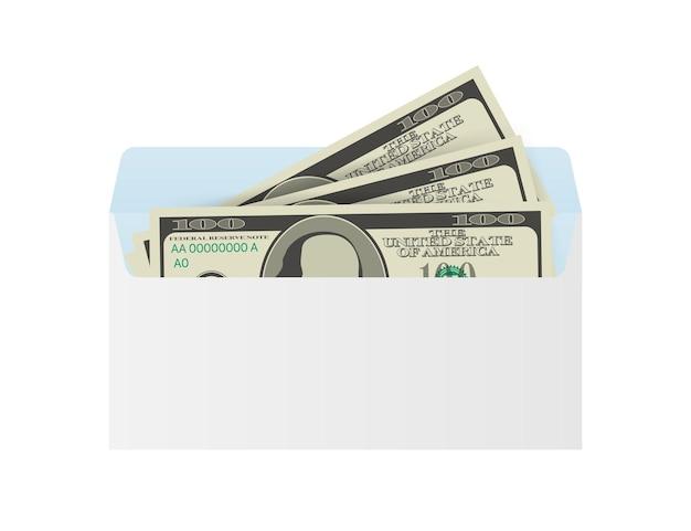白い封筒のいくつかのドル紙幣。送金の概念。ベクトルイラスト。ベクトルイラスト