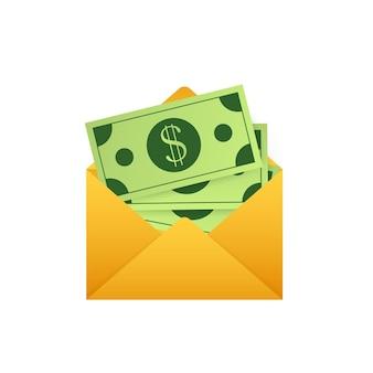 白い封筒のいくつかのドル紙幣。送金の概念。ベクトルイラスト。ベクトルイラスト Premiumベクター