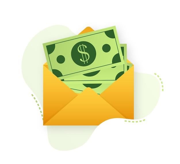 Некоторые долларовые купюры в белом конверте. отправить денежное понятие. векторная иллюстрация.