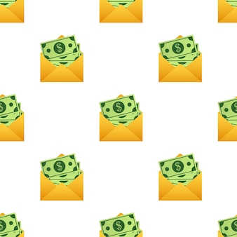 黄色い封筒パターンのいくつかのドル紙幣。送金の概念。ベクトルイラスト。 Premiumベクター