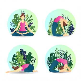 Некоторые женские позы йоги с розовой майкой на природе с растениями в плоском дизайне.