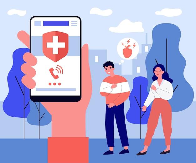 心臓発作のある人に緊急事態を呼びかける人。スマートフォン、手、健康フラットベクトル図