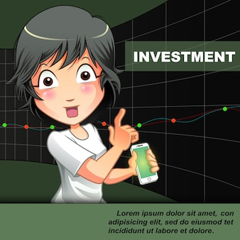 Someone is inviting you to investment on chart background.