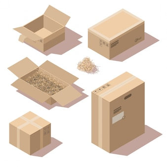 Sometric brown cardboard delivery package boxes