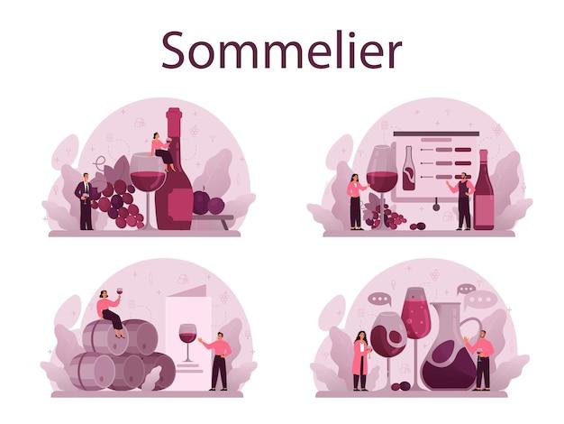 ソムリエコンセプトセット。ブドウのワインのボトルとアルコール飲料でいっぱいのグラスを持つスペシャリスト。木製の樽でブドウのワイン、ワイン貯蔵庫。孤立したベクトル図