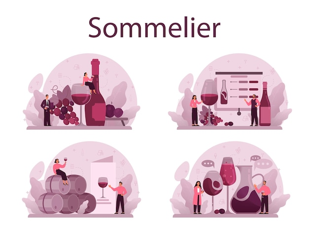 Sommelier concept set. specialist with a bottle of grape wine and glass full of alcohol drink. grape wine in a wood barrel, wine storage. isolated vector illustration