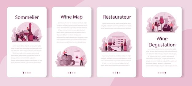 ソムリエモバイルアプリケーションバナーセット。ブドウのワインのボトルとアルコール飲料でいっぱいのグラスを持つスペシャリスト。木製の樽でブドウのワイン、ワイン貯蔵庫。