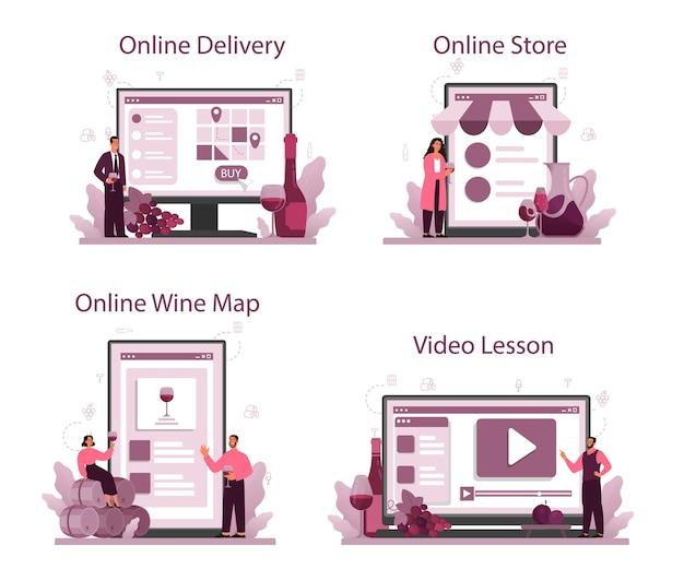 ソムリエのオンラインサービスまたはプラットフォームセット。ブドウのワインのボトルとアルコール飲料でいっぱいのグラスを持つスペシャリスト。オンライン配信、ストア、ワインマップ、ビデオレッスン。