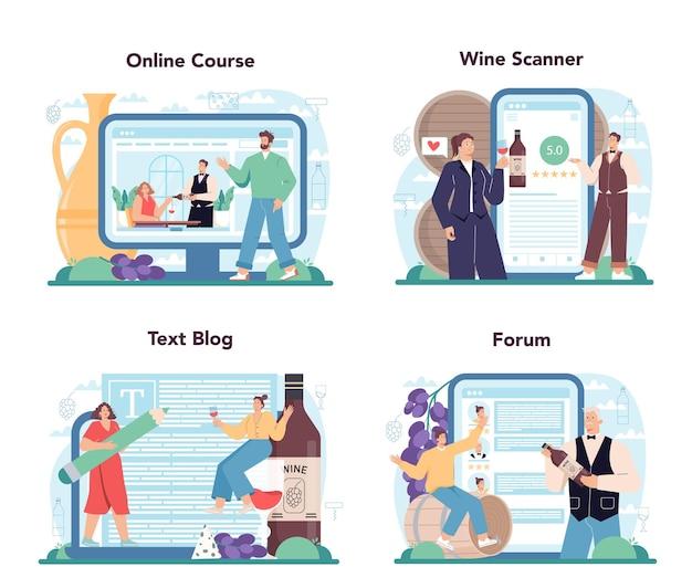 소믈리에 온라인 서비스 또는 유리잔을 든 플랫폼 세트 전문가
