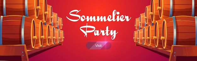 Sommelier party banner with wine barrels on red