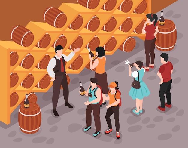 지하실 아이소메트릭 일러스트레이션으로 고객에게 다양한 종류의 와인을 보여주는 소믈리에