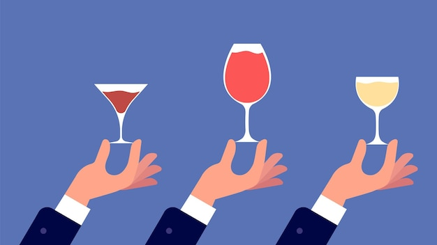 유리와 소믈리에입니다. 손에는 와인, 주류, 버몬트 배너가 든 안경이 있습니다. 파티 친구 또는 가족 저녁 식사. 알코올 및 칵테일, 카페 레스토랑 또는 바 벡터 일러스트레이션에서 음료 시음