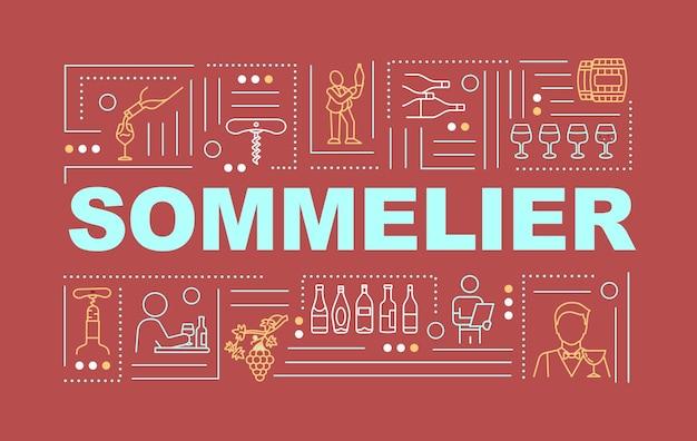 ソムリエの言葉の概念のバナー。プレミアム品質のワインを決定するスペシャリスト。赤い背景に線形アイコンとインフォグラフィック。孤立したタイポグラフィ。ベクトルアウトラインrgbカラーイラスト