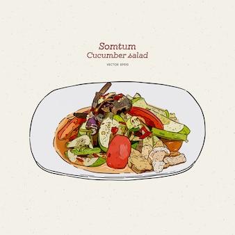 ソムタムまたはキュウリのスパイシーサラダ、手描きのスケッチ。