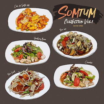 Somtum salad collection
