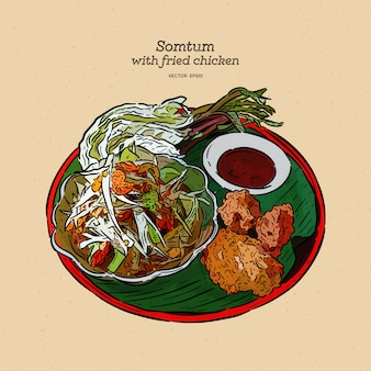 Somtum with fried chicken illustration