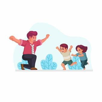 Сын и дочь бегут приветствовать и готовы обнять ее отца после возвращения домой из офиса векторная иллюстрация