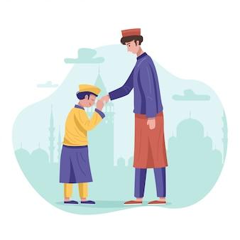 ハリラヤaidilfitriのお祝い中に許しを求める息子と父親