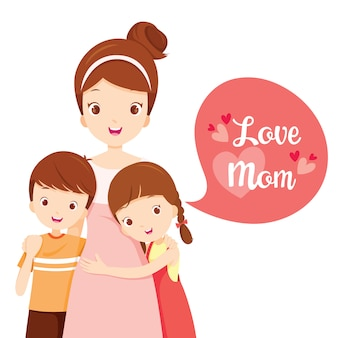Son and daughter hugging their mother, love mom, happy mother's day