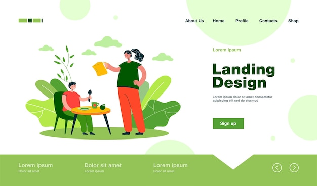 Son eating breakfast cooked by mother landing page in flat style