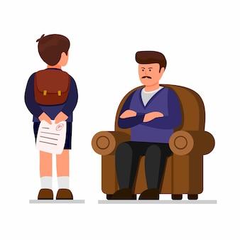 아들은 부모로부터 시험 종이 나쁜 성적을 숨기고, 아이는 나쁜 성적을 가져오고 흰색 배경에 고립 된 학습 수업 만화 평면 그림에서 실패합니다.