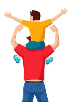Son on his father shoulders