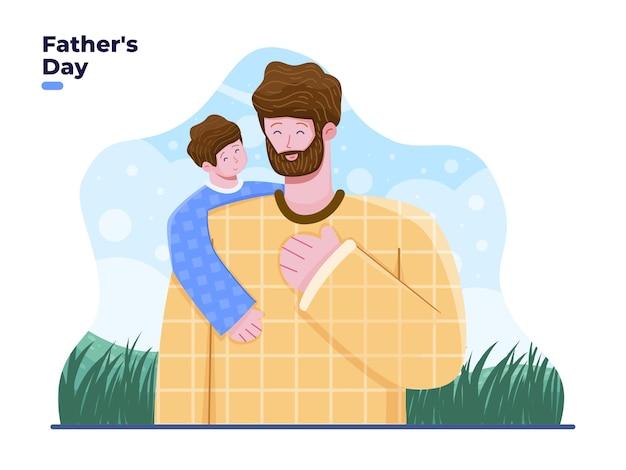 Son hugging father flat illustration