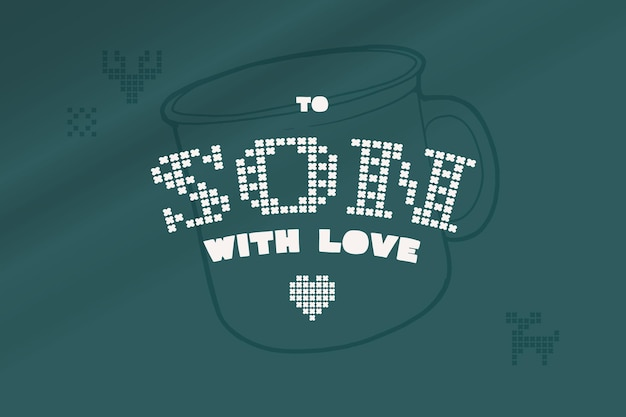 To son with love lettering is made of thick round knits flat style sign with a set of bonus icons