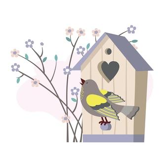 Певчая птица, скворечник, цветущая ветка.