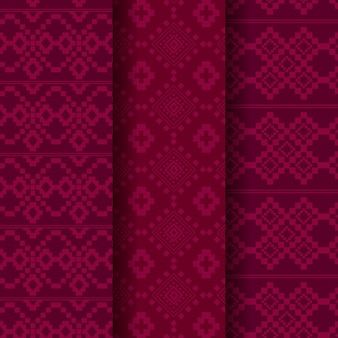 Songket pattern template collection Premium Vector