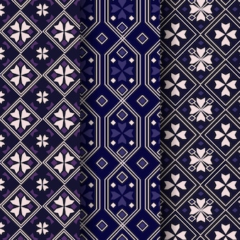 Songket pattern template set Premium Vector