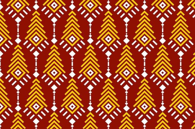 ソンケットのシームレスなパターンの赤と黄色