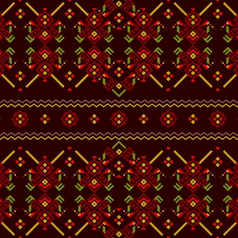 Songket seamless pattern in red and green