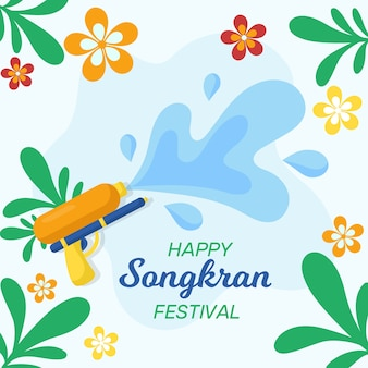 Concetto di songkran in design piatto