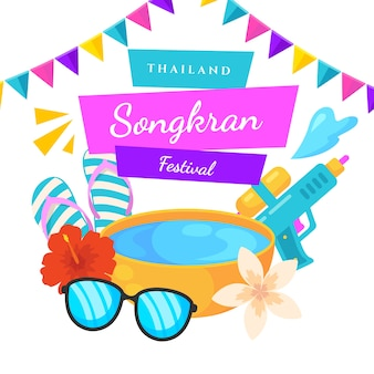 Songkran festival in flat design