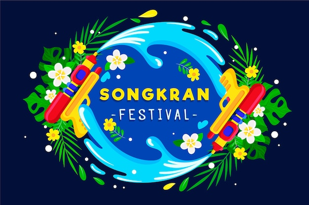 Songkran festival illustration