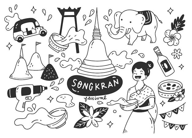 タイのソンクラン祭り落書き Premiumベクター