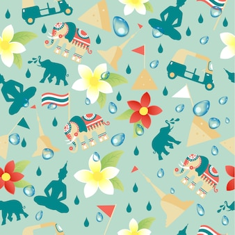 Songkran Festival in Thailand of April in seamless pattern