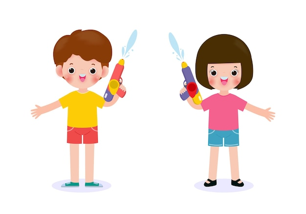 Songkran festival kids holding water gun enjoy splashing water in songkran festival, thailand traditional new year's day illustration thailand travel concept on white background