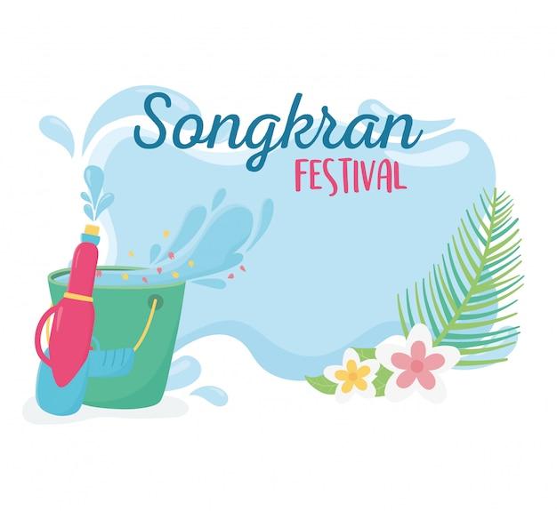 Songkran festival plastic water gun bucket flowers