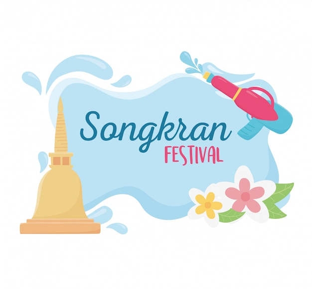 Songkran festival plastic water gun flowers pagoda thai place celebration design vector illustration