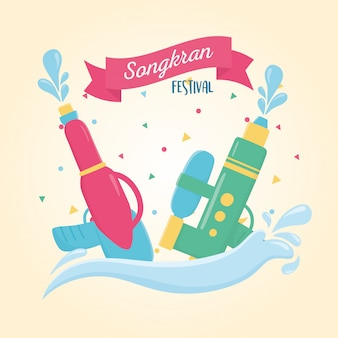 Songkran festival plastic water guns splash