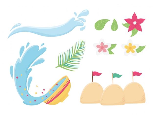 Songkran festival splash water bowl flowers sand flags icons