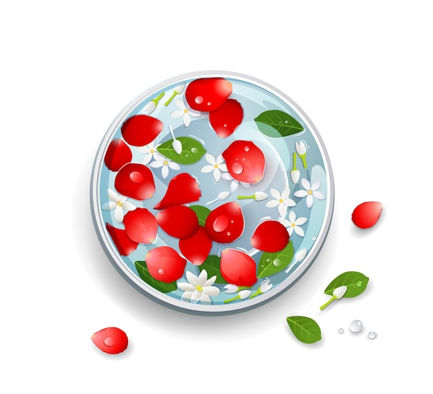 Songkran festival thailand rose petals and flower, leaf in water bowl.