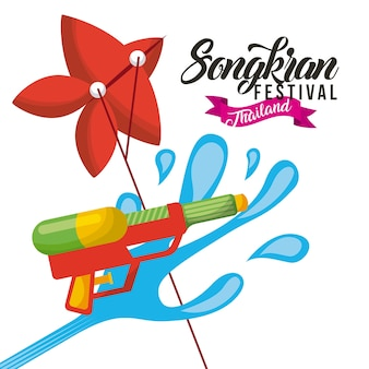 Songkran festival thailand water gun and kite celebration