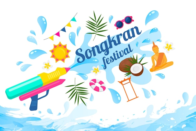 Songkran festival with water gun