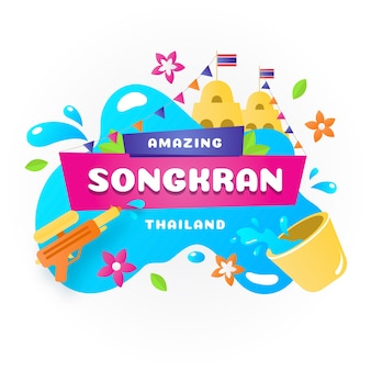 Songkran lettering on water splash